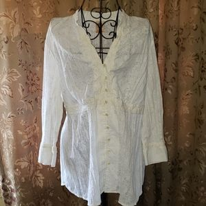 2/$25 Faded Glory blouse 2X floral white